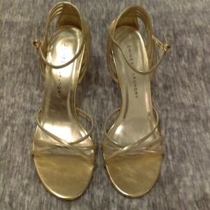Gold strappy high heel sandal Chinese Laundry 8.5